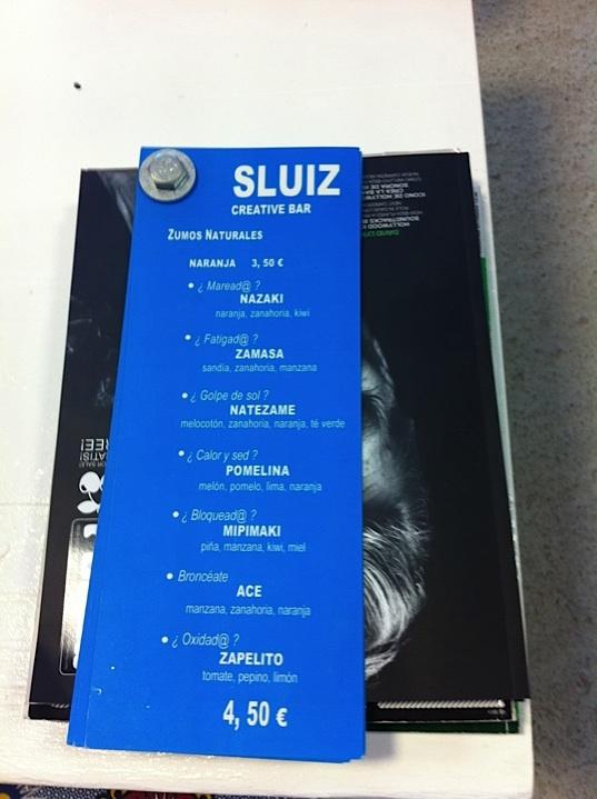 SLUIZ menu kaart