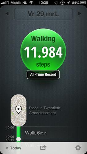 Met de app Moves meet je al je bewegingen op een dag, door alleen je telefoon bij je te dragen. Handig!  En zo'n dag in Parijs is erg gunstig voor je score :)